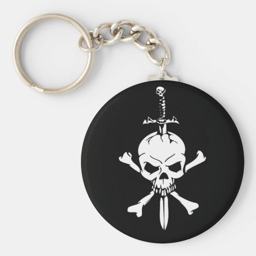 Jolly Roger Skull with Knife Keychain