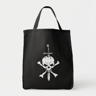 Jolly Roger Skull with Knife Reusable tote bag