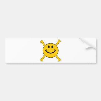 jolly roger smiley face bumper sticker