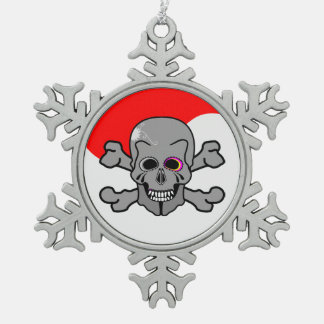 Jolly Roger Snowflake Pewter Christmas Ornament