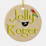 Jolly Roger Text Design w/Parrot & Eye Patch Ornaments