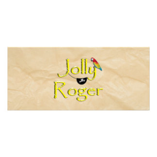 Jolly Roger Text Design w/Parrot & Eye Patch Rack Cards