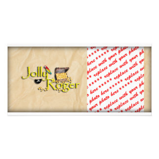 Jolly Roger Text w Pirate s Treasure Chest Custom Photo Card