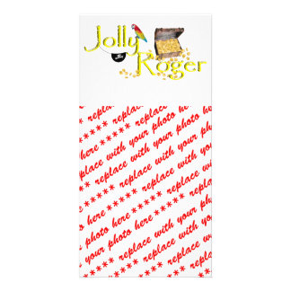 Jolly Roger Text w Pirate s Treasure Chest Photo Card