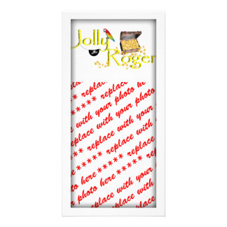Jolly Roger Text w Pirate s Treasure Chest Photo Cards