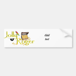 Jolly Roger Text w/Pirate's Treasure Chest Car Bumper Sticker