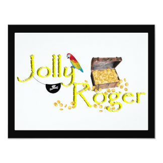 Jolly Roger Text w/Pirate's Treasure Chest 4.25x5.5 Paper Invitation Card