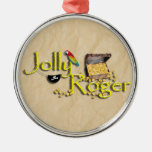 Jolly Roger Text w/Pirate's Treasure Chest Christmas Ornaments