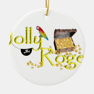 Jolly Roger Text w/Pirate's Treasure Chest Christmas Tree Ornament