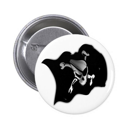 Jolly Roger Waving Pirate Flag 2 Inch Round Button