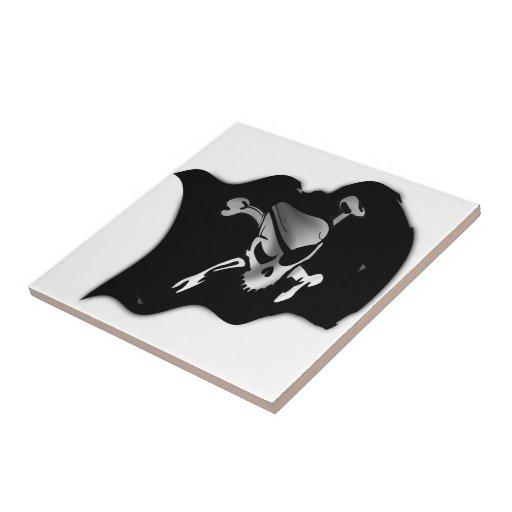 Jolly Roger Waving Pirate Flag Ceramic Tile