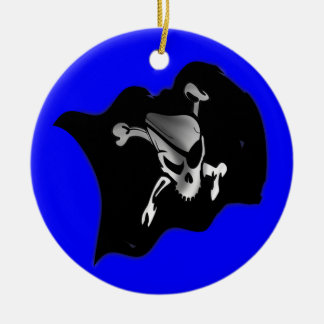 Jolly Roger Waving Pirate Flag Double-Sided Ceramic Round Christmas Ornament