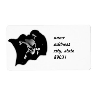 Jolly Roger Waving Pirate Flag Shipping Labels