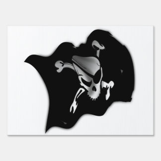 Jolly Roger Waving Pirate Flag Signs