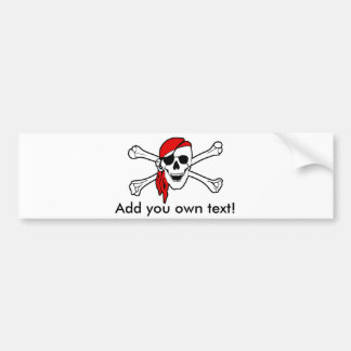 Jolly roger with red bandana car bumper sticker