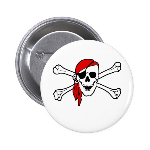 Jolly roger with red bandana pinback button