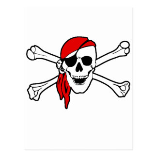 Jolly roger with red bandana postcard