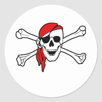 Jolly roger with red bandana round sticker