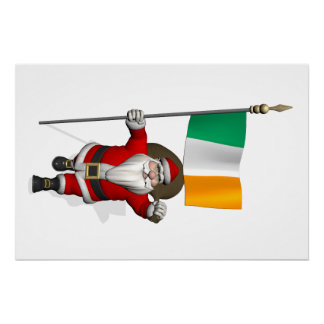 Jolly Saint Nicholas With Flag Of Ireland Poster