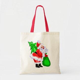 Jolly Santa and Christmas Tree Canvas Bags