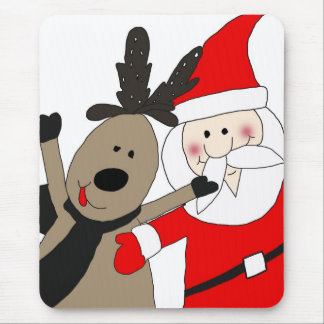 Jolly Santa and Reindeer #1 Mouse Pad