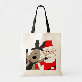 Jolly Santa and Reindeer #1 Tote Bag