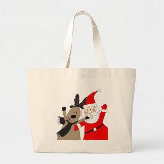 Jolly Santa and Reindeer Canvas Bag