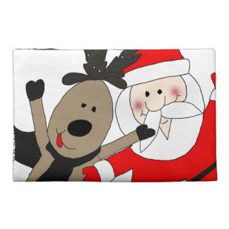 Jolly Santa and Reindeer Travel Accessory Bag