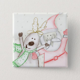 JOLLY SANTA AND REINDEER BUTTON