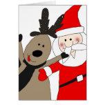 Jolly Santa and Reindeer Greeting Card