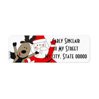 Jolly Santa and Reindeer Custom Return Address Label