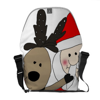 Jolly Santa and Reindeer Courier Bags