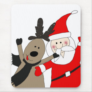 Jolly Santa and Reindeer Mouse Pad