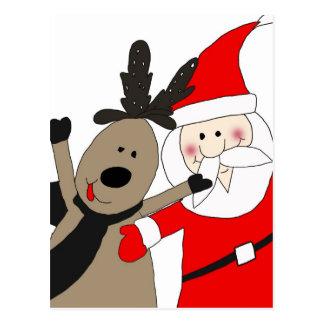 Jolly Santa and Reindeer Postcard