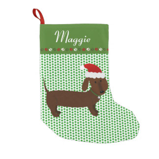 Jolly Santa Brown Dachshund Personalized Small Christmas Stocking