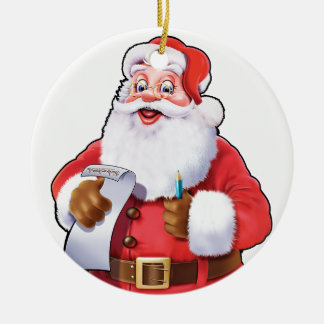 Jolly Santa checking his list tree decoration