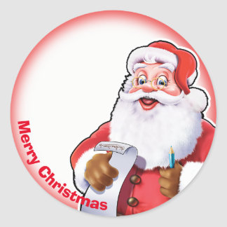 Jolly Santa Christmas label sticker
