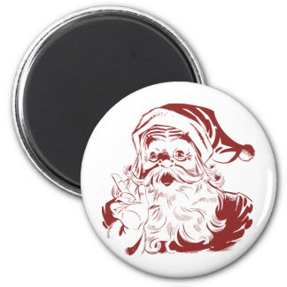 Jolly Santa Claus in Red Fun Retro Merry Chrismtas 2 Inch Round Magnet