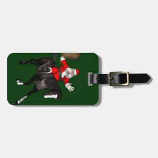 Jolly Santa Claus Loves Black Horses Bag Tag