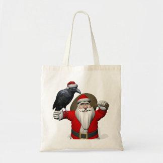 Jolly Santa Claus Loves Black Ravens Tote Bag