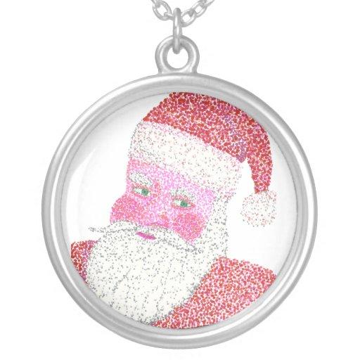 Jolly Santa Claus Pointillism Necklace