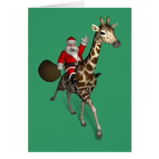 Jolly Santa Claus Rides A Giraffe Greeting Card