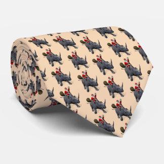Jolly Santa Claus Rides A Rhinoceros Neck Tie