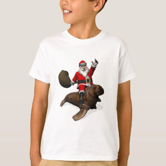 Jolly Santa Claus Riding On Walrus T-Shirt