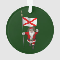 Jolly Santa Claus Visiting Alabama Ornament at Zazzle