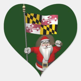 Jolly Santa Claus Visiting Maryland Heart Sticker