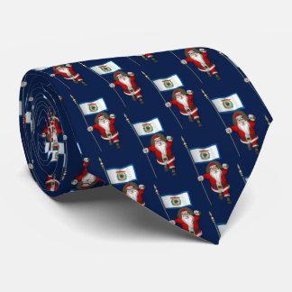 Jolly Santa Claus With Ensign Of West Virginia Neck Tie