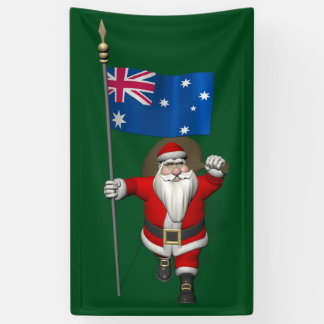 Jolly Santa Claus With Flag Of Australia Banner