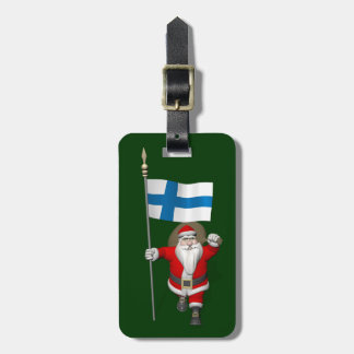 Jolly Santa Claus With Flag Of Finland Bag Tag
