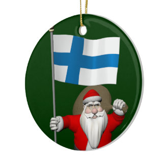 Jolly Santa Claus With Flag Of Finland Ceramic Ornament